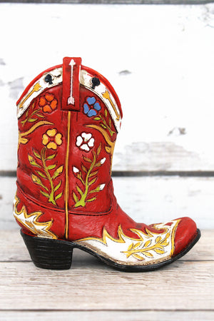 Red Floral Cowboy Boot Resin Decor, 4.75""