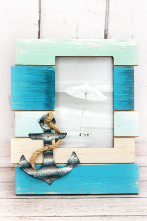 9 x 7.75 Ocean Stripes with Anchor 4x6 Wood Photo Frame