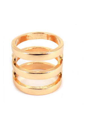 Goldtone Triple Loop Cuff Ring *Choose Your Size