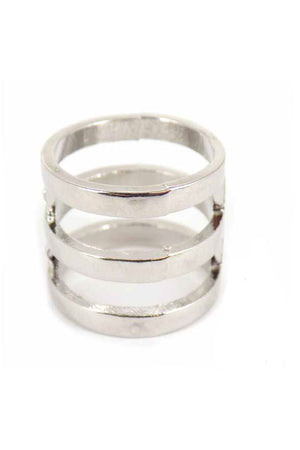 Silvertone Triple Loop Cuff Ring *Choose Your Size