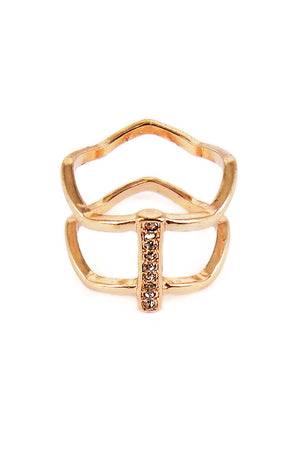 Goldtone Wavy Loops Crystal Stripe Ring *Choose Your Size