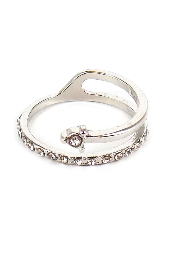 Crystal Pave Silvertone Coil Ring *Choose Your Size
