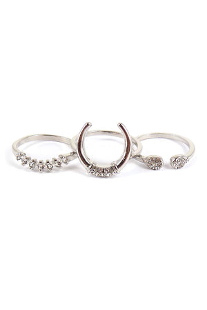 Crystal Accented Silvertone 3 Ring Set *Choose Your Size