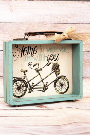 7.25 x 8 'Home Is Wherever I'm With You' Wood Suitcase Sign