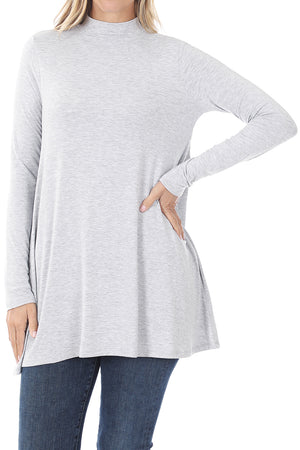 Heather Gray Long Sleeve Mock Neck Top