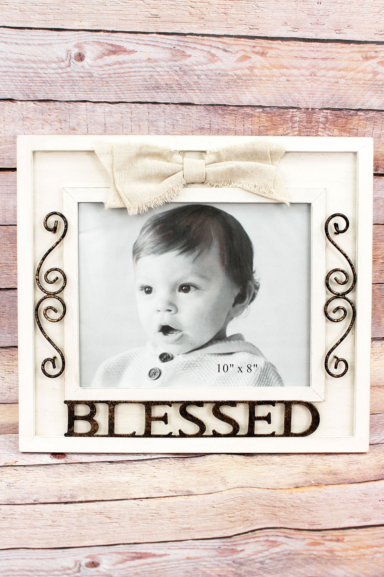 13 x 14.5 Metal \'Blessed\' Wood 8x10 Photo Frame with Bow | eWAM