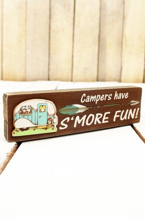 2 x 7.25 'Campers Have S'more Fun!' Wood Block Sign
