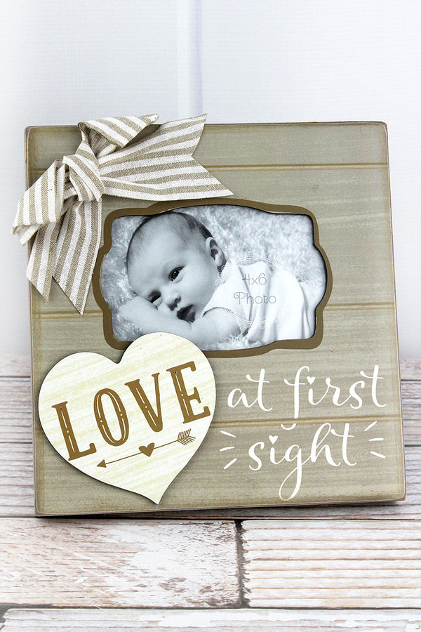 9.25 x 9 'Love At First Sight' Wood 4x6 Photo Frame