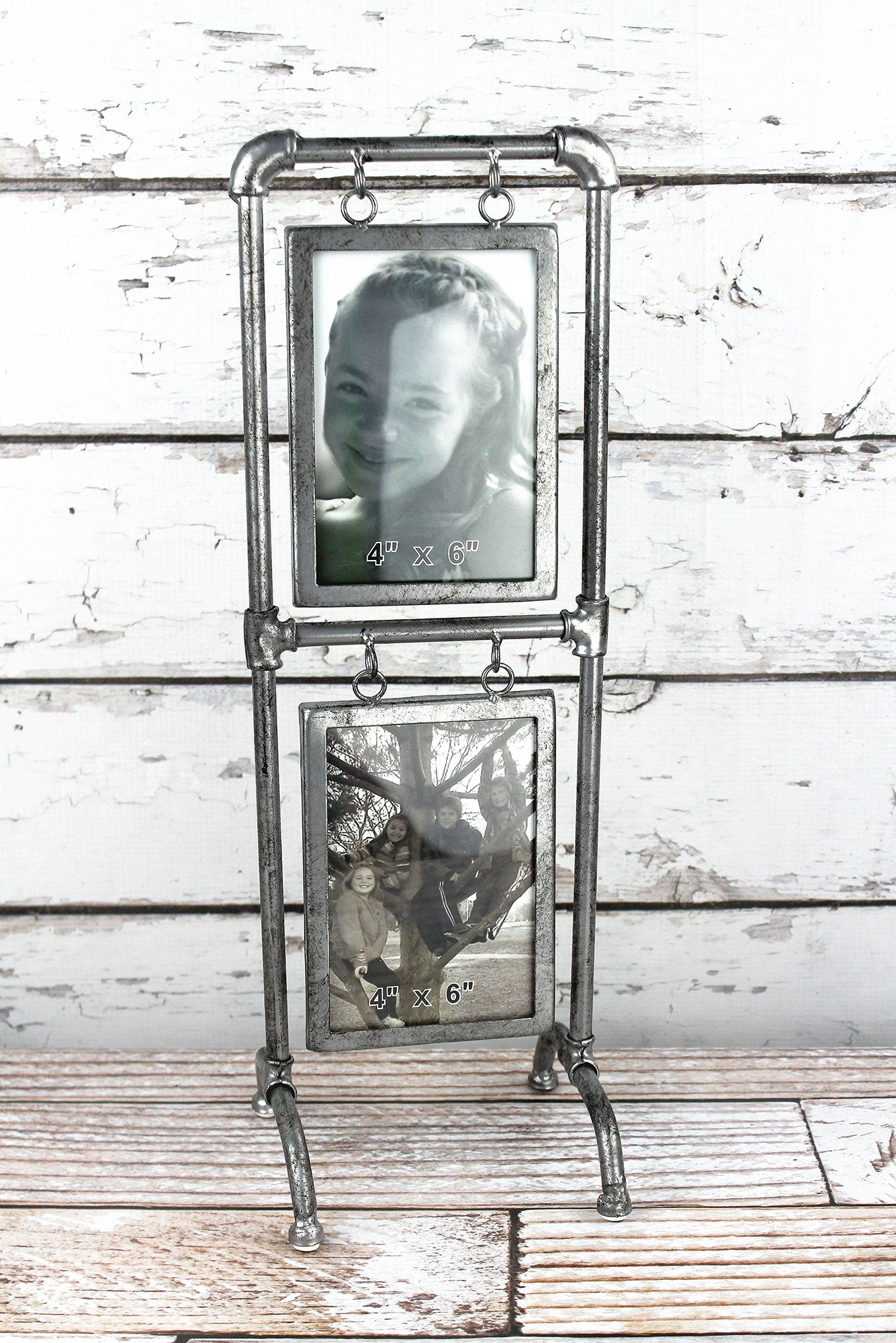 18 x 6 Antiqued Metal Double 4x6 Photo Frame | eWAM