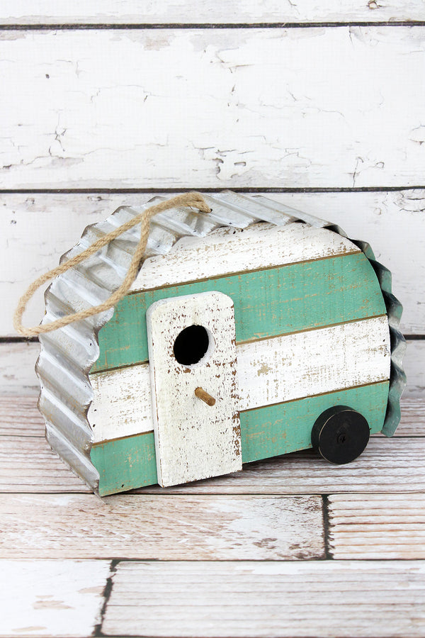 7.5 x 9.5 Distressed Wood and Metal Camper Bird House