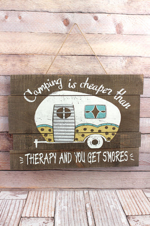 13.75 x 20 'Cheaper Than Therapy' Camper Wood Wall Sign