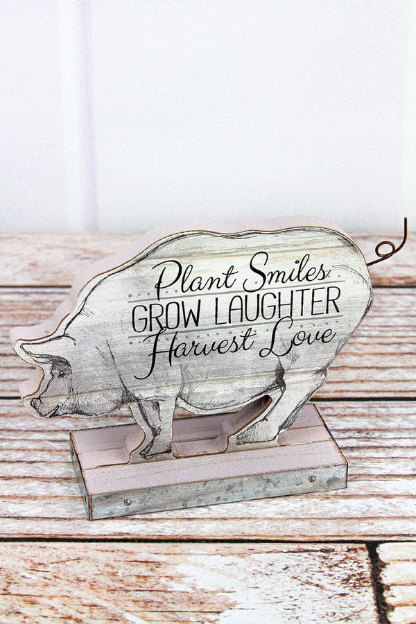 4.5 x 6.5 'Plant Smiles' Wood Tabletop Pig