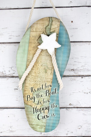 16.25 x 7.25 'Happy Crew' Tin Flip Flop Sign