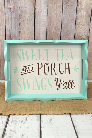11 x 15.25 'Sweet Tea' Wood Tray