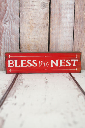 2 x 7.25 'Bless This Nest' Wood Tabletop Block
