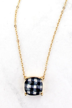 White Buffalo Plaid Cushion Cut Pendant Necklace