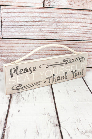 3.5 x 12 'Seat Yourself' Wood Bathroom Sign