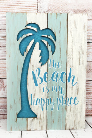23.25 x 15.75 'Happy Place' Cut-Out Palm Tree Wood Wall Sign
