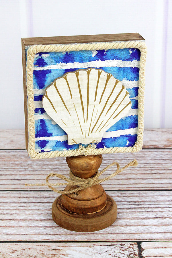 8.25 x 5 Seashell Wood Pedestal Nautical Decor