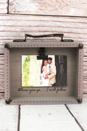 7.25 x 8 'Where You Go' Wood Suitcase 5x3.5 Photo Display