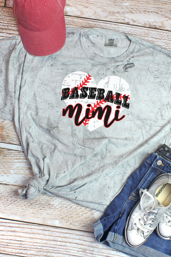 Distressed Heart Baseball Mimi Adult Heavyweight Color Blast Tee