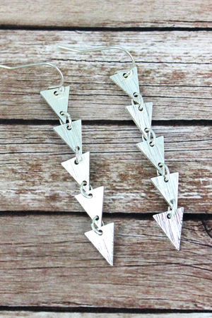 Crave Silvertone Linked Triangle Earrings