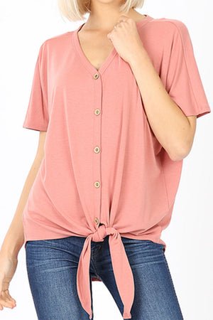 Ash Rose Button Down Tie Front Top