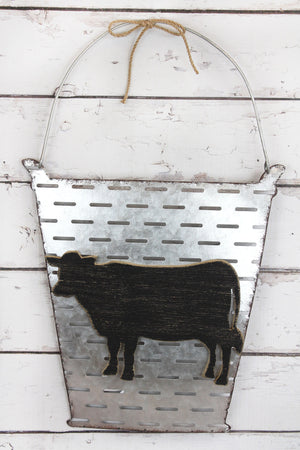 24 x 15 Metal Bucket and Wood Cow Wall Decor