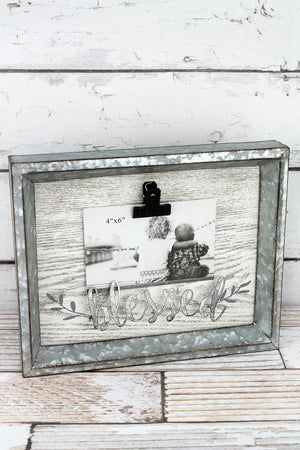 9.5 x 12 'Blessed' Tin Framed Wood 4x6 Photo Display