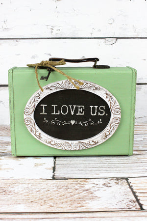 7.25 x 10 'I Love Us' Wood Suitcase Tabletop Decor