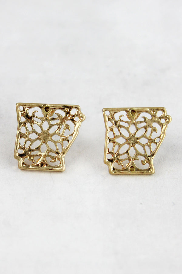 Crave Goldtone Filigree Arkansas Stud Earrings