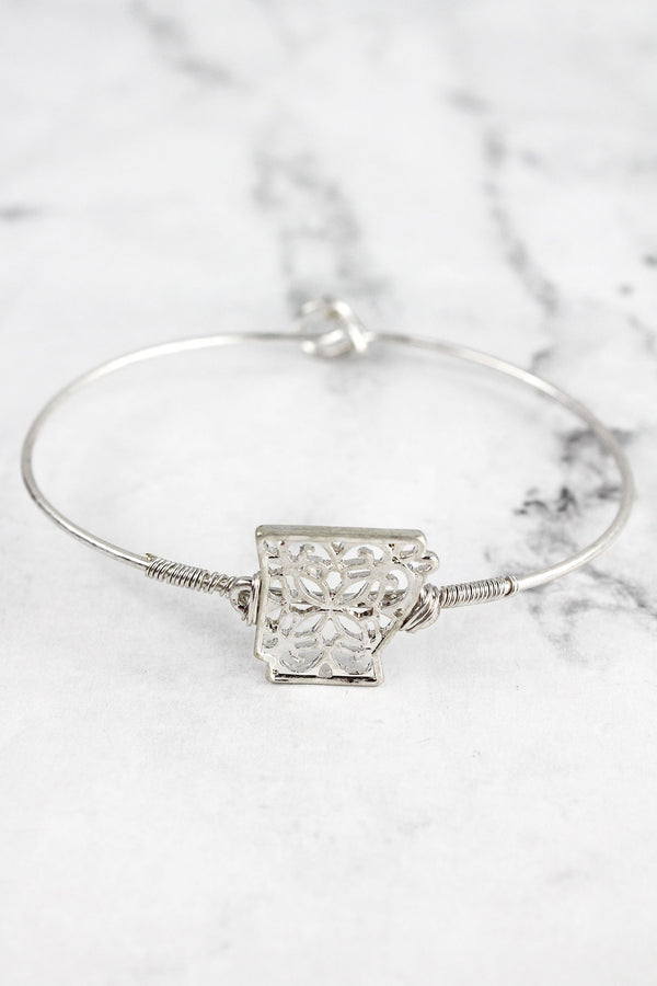 Crave Silvertone Filigree Arkansas Bangle