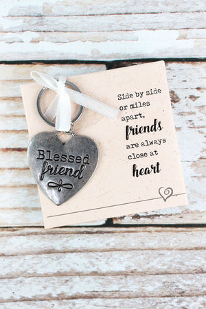 Silvertone 'Blessed Friend' Key Ring