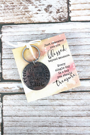 Silvertone 'Grateful Thankful Blessed' Key Ring