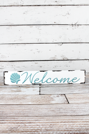 3.5 x 20 'Welcome' Embossed Metal Wall Sign