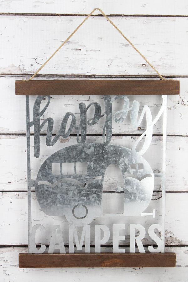 16 x 13.25 'Happy Campers' Cut-Out Tin and Wood Sign
