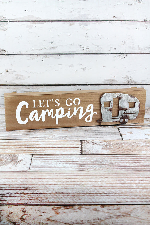 4.75 x 19 'Let's Go Camping' Wood with Metal Box Sign