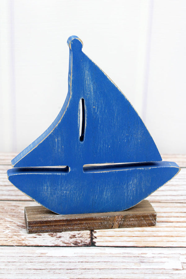 8 x 7.25 Blue Wood Tabletop Sailboat