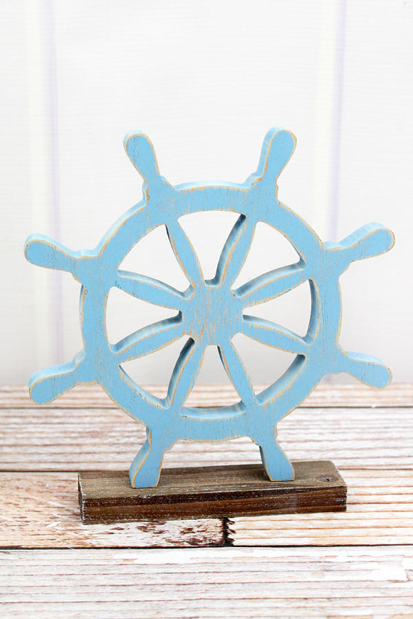 8.25 x 7.5 Blue Wood Tabletop Ship Wheel