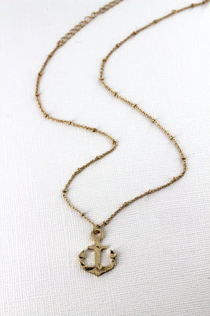 Crave Worn Goldtone Anchor Necklace