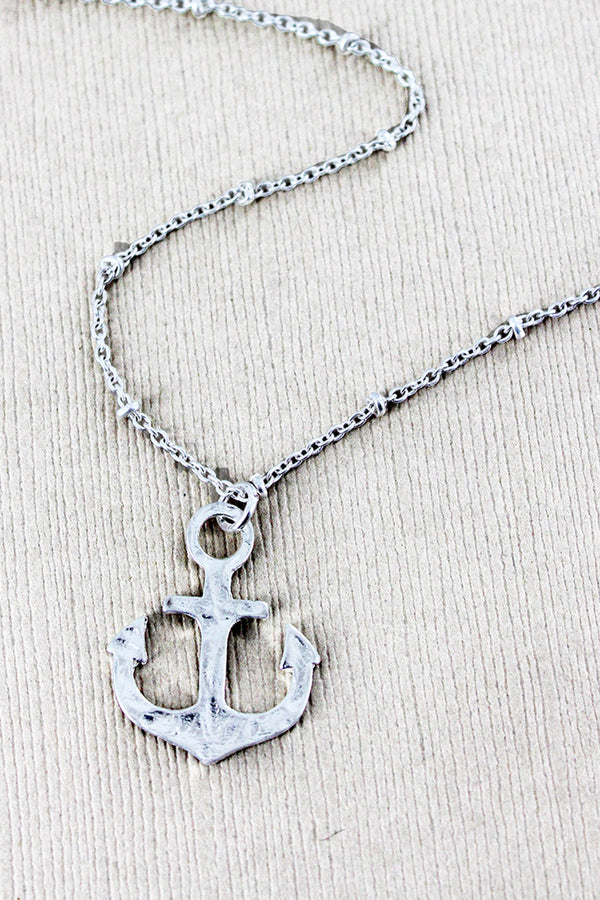 Crave Worn Silvertone Anchor Necklace