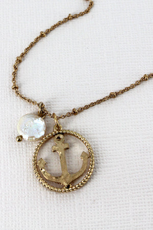 Crave Worn Goldtone Anchor Circle and Pearl Necklace