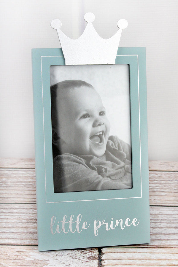 10.25 x 5 'Little Prince' Blue with Crown 4x6 Photo Frame
