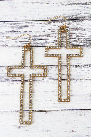 Crave Crystal Pave Worn Goldtone Cross Earrings