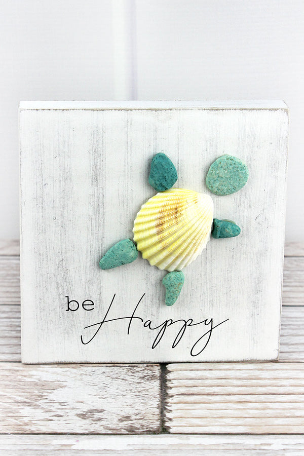 6 x 6 'Be Happy' Stone and Seashell Turtle Box Sign