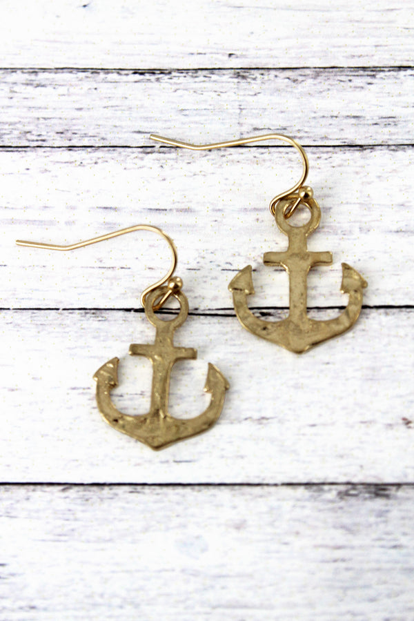 Crave Worn Goldtone Anchor Earrings
