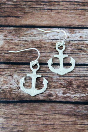 Crave Worn Silvertone Anchor Earrings