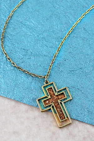 Crave Goldtone and Brown Cork Cross Necklace
