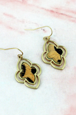 Crave Worn Goldtone and Leopard Moroccan Earrings