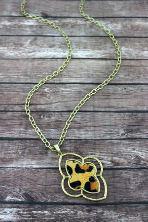 Crave Worn Goldtone and Leopard Moroccan Pendant Necklace